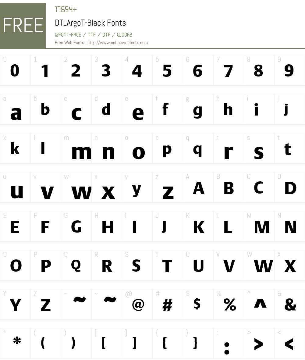 DTLArgoT Font Screenshots