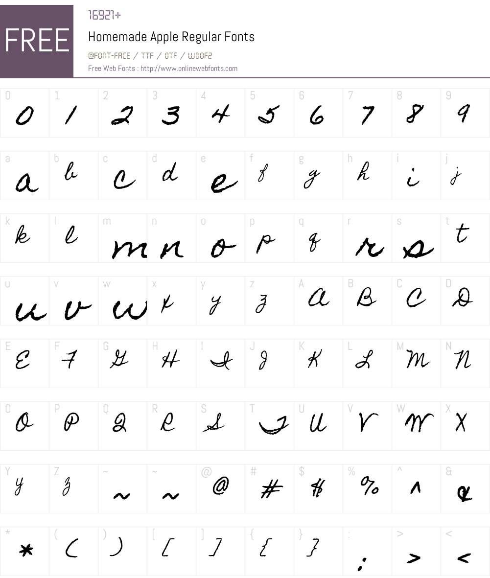 Homemade Apple Font Screenshots