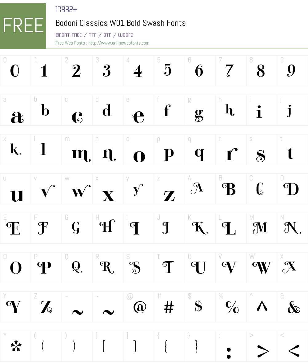 BodoniClassicsW01-BoldSwash Font Screenshots