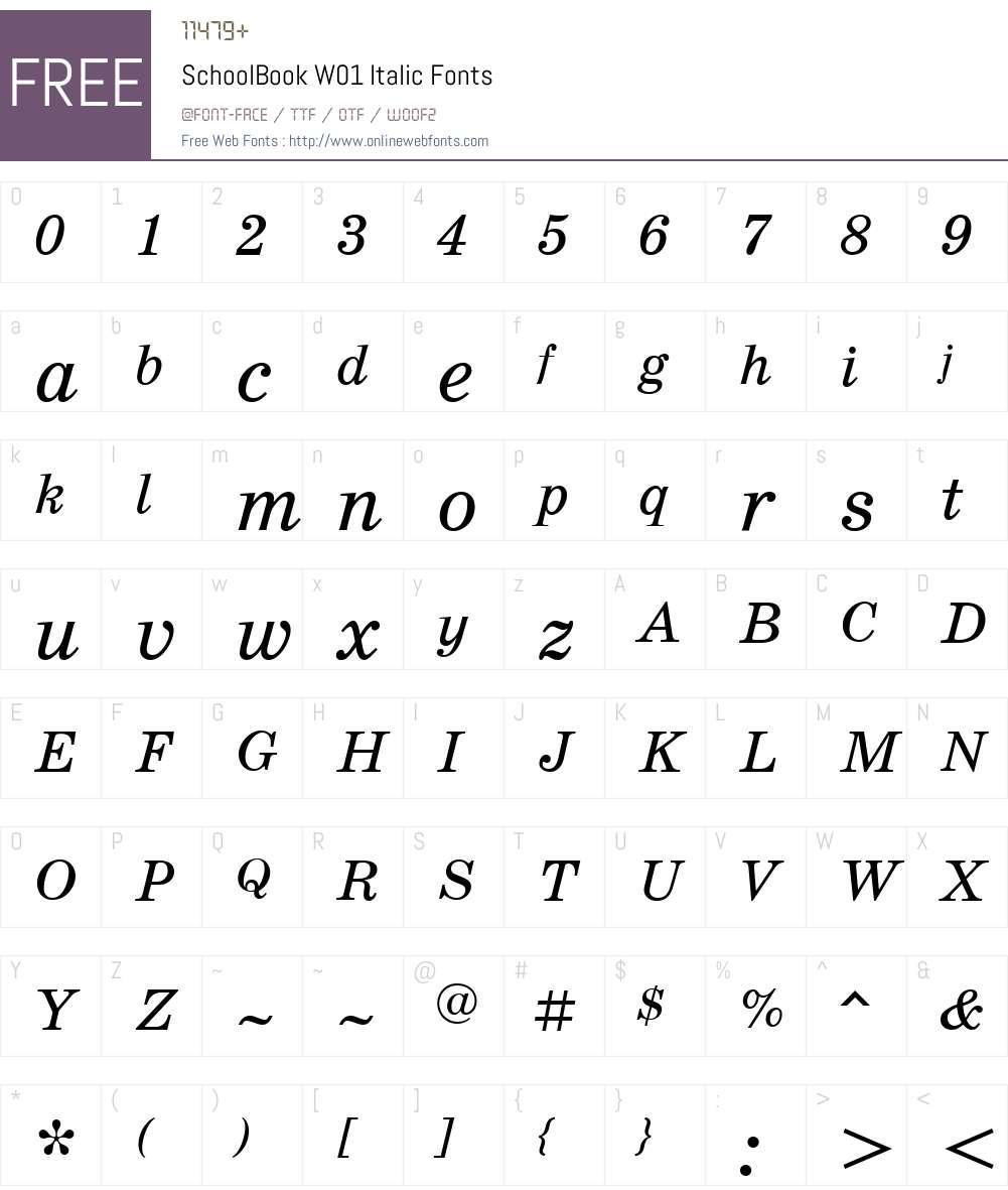 SchoolBookW01-Italic Font Screenshots