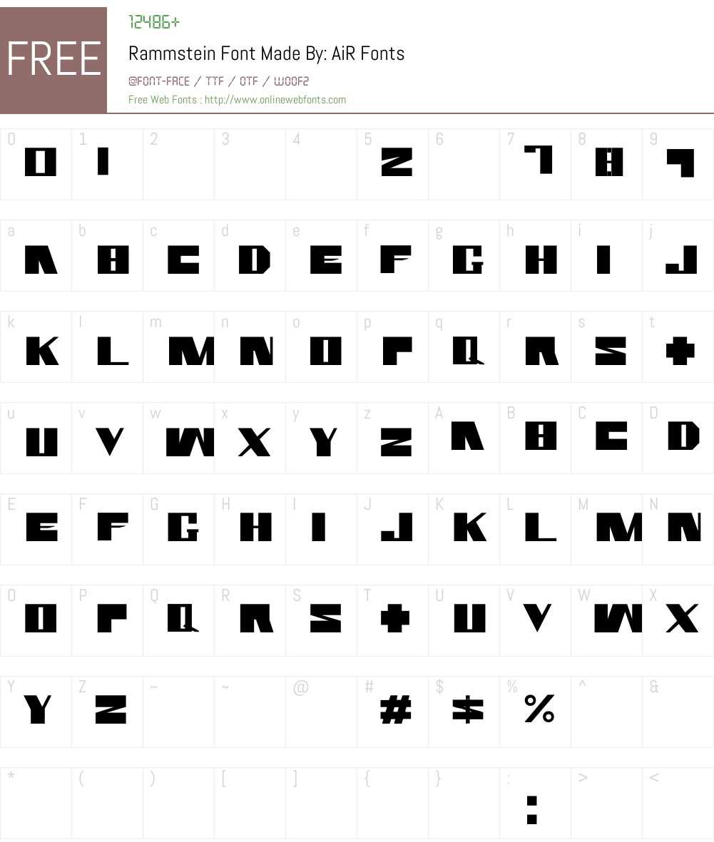 Rammstein Font Made By: AiR Font Screenshots
