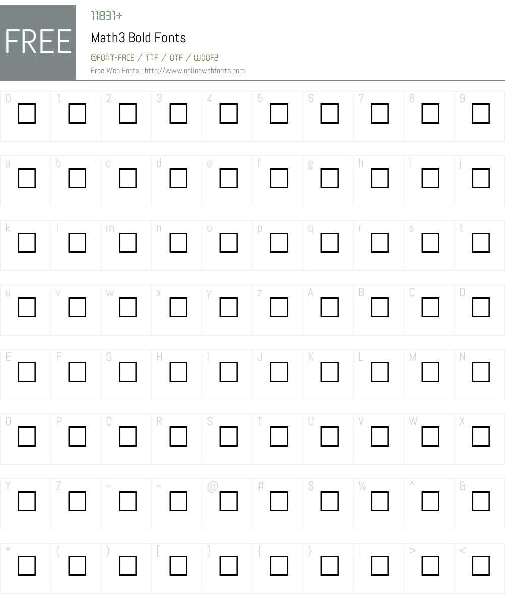 Math3 Font Screenshots