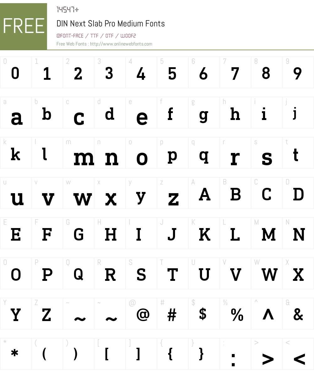 DIN Next Slab Pro Medium Font Screenshots