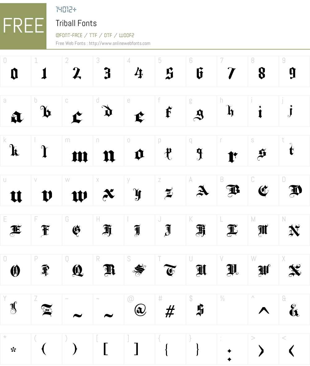 Triball Font Screenshots