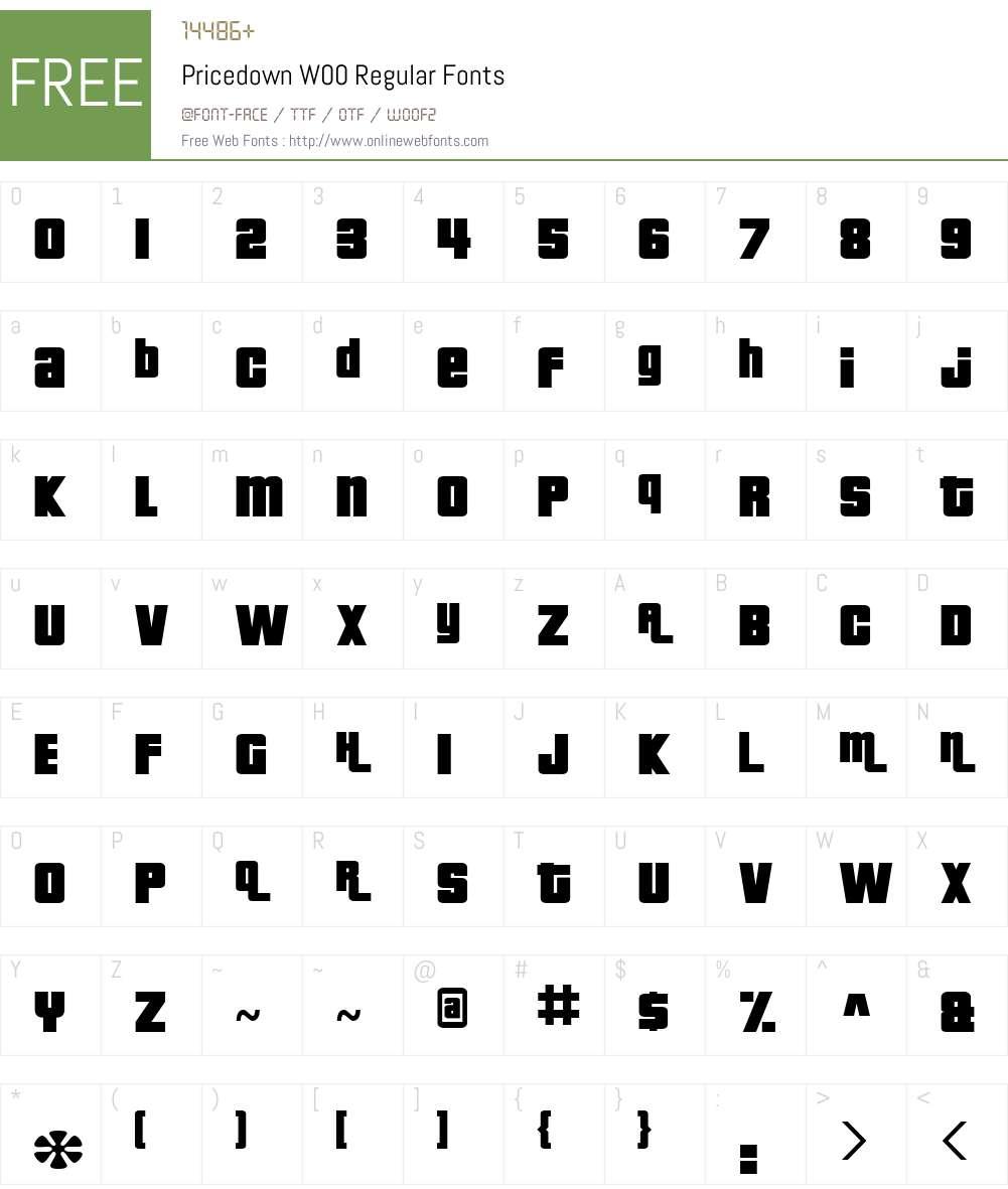 PricedownW00-Regular Font Screenshots