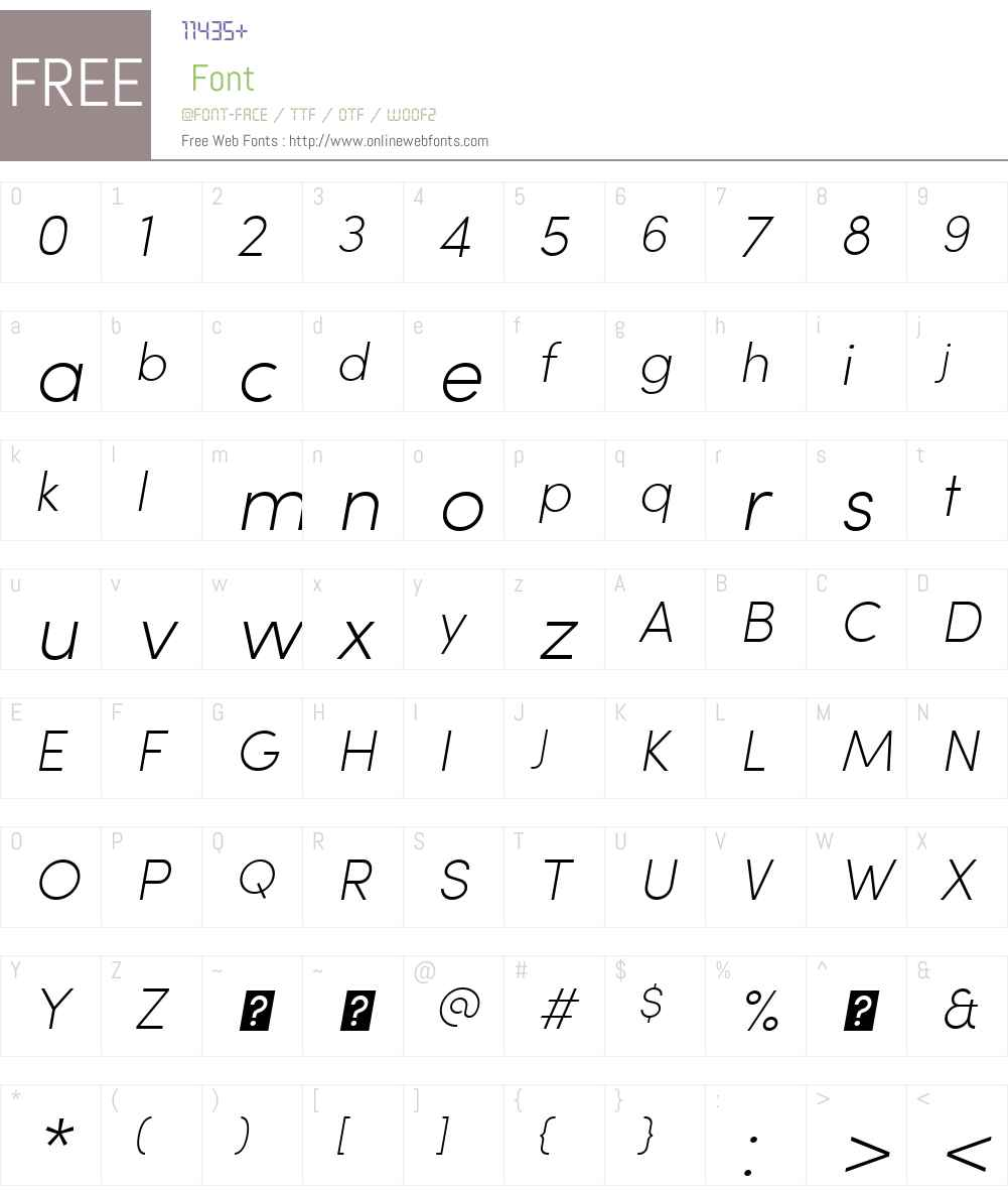SofiaW01-ExtraLightItalic Font Screenshots