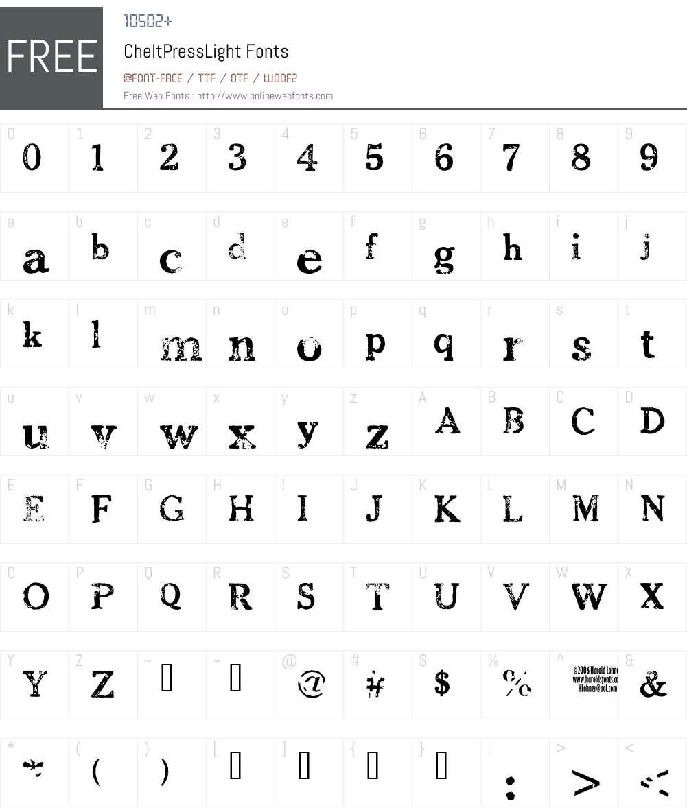 CheltPressLight Font Screenshots