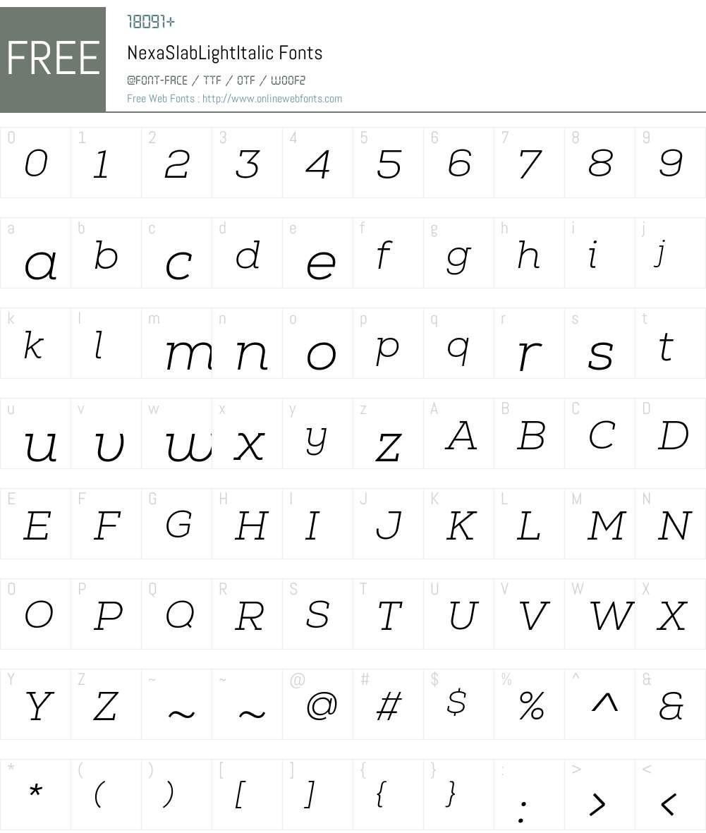 Nexa Slab Light Italic Font Screenshots