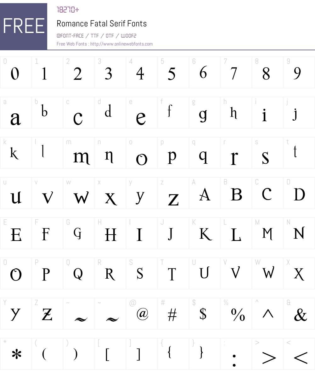 Romance Fatal Serif Font Screenshots
