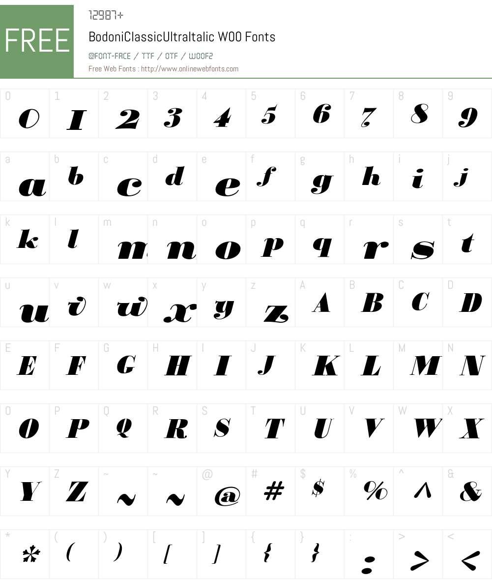 BodoniClassicUltraItalicW00 Font Screenshots