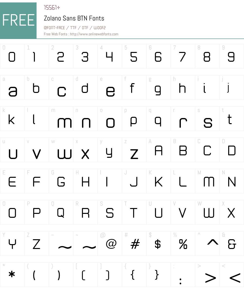 Zolano Sans BTN Font Screenshots