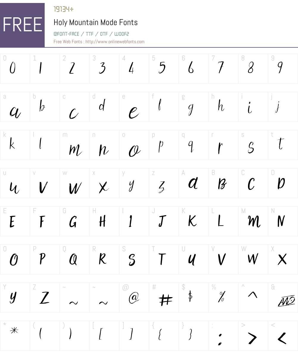 Holy Mountain Mode Font Screenshots
