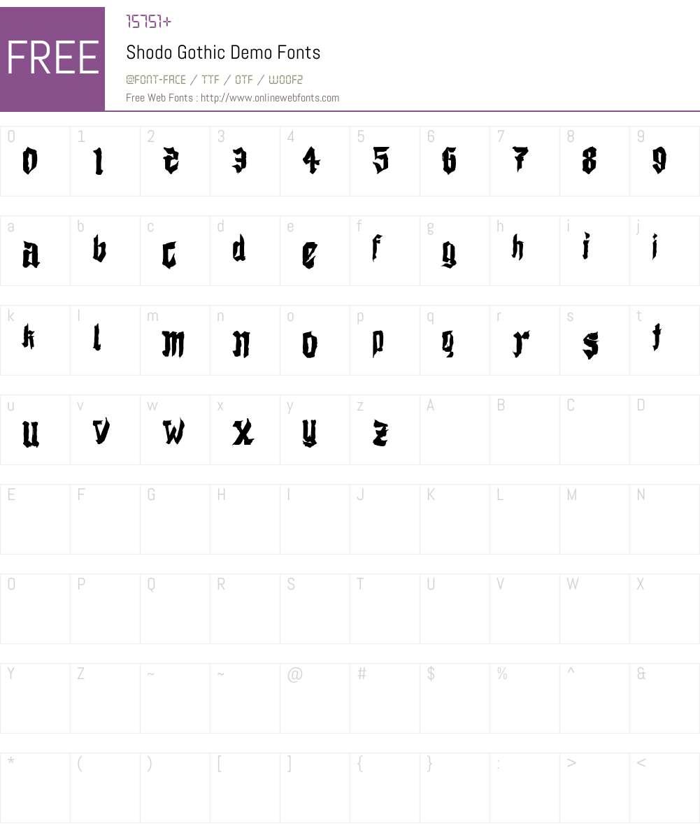 Shodo Gothic Demo Font Screenshots