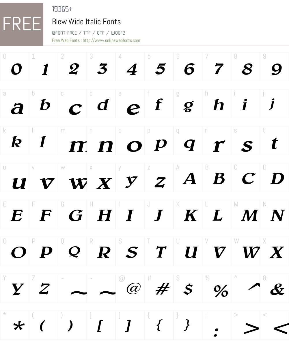 Blew Wide Font Screenshots