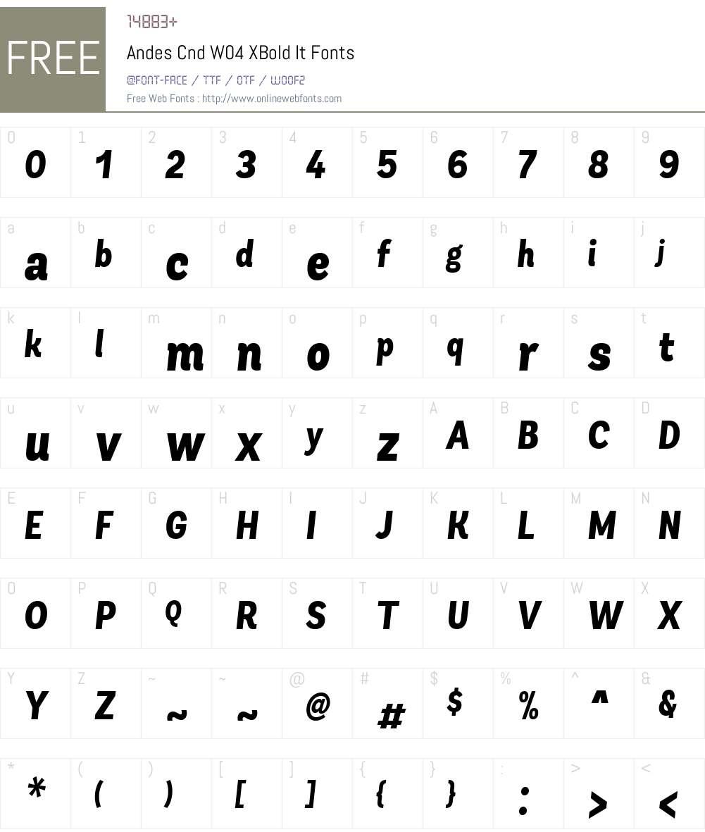 AndesCndW04-XBoldIt Font Screenshots