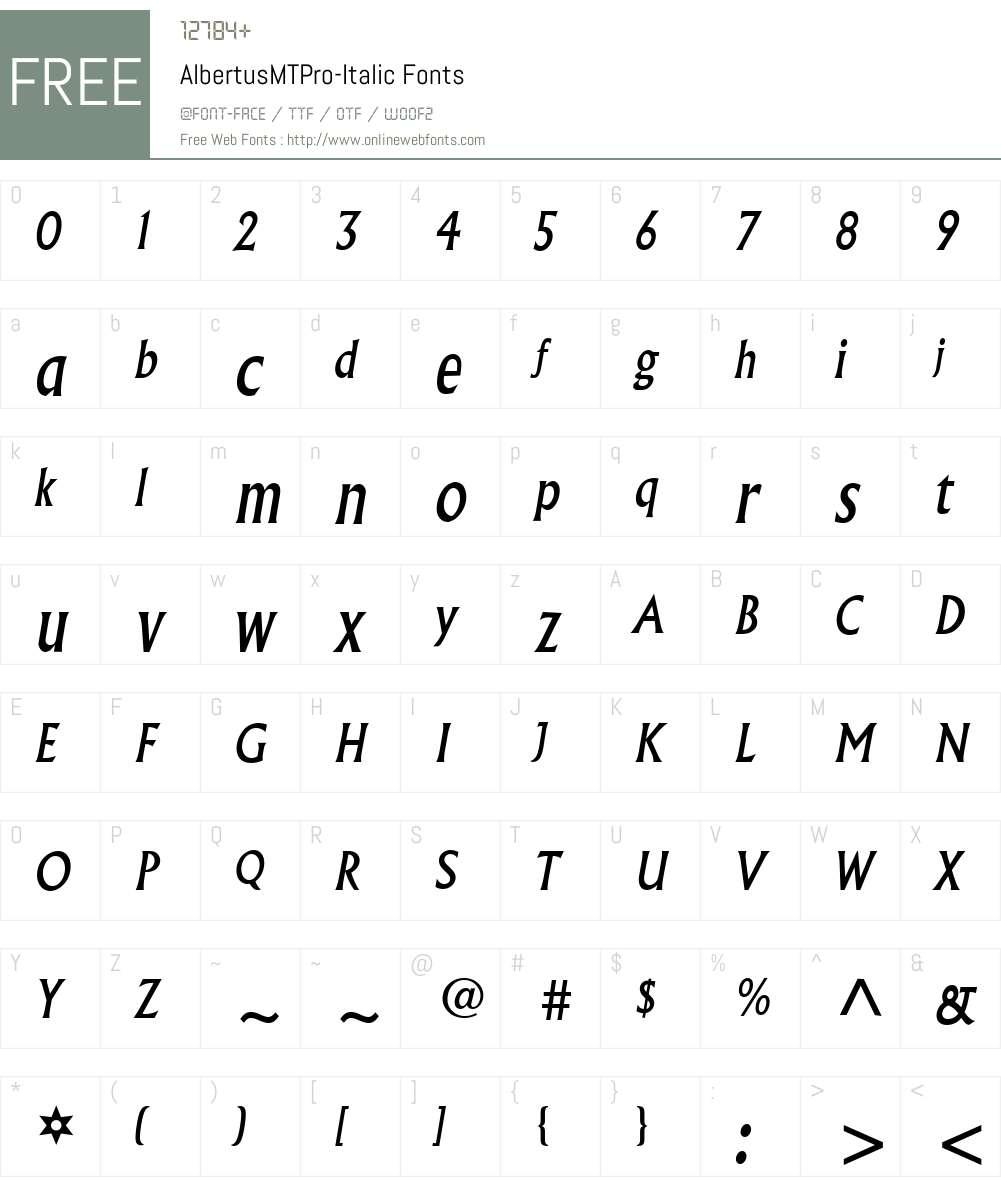 AlbertusMTPro-Italic Font Screenshots