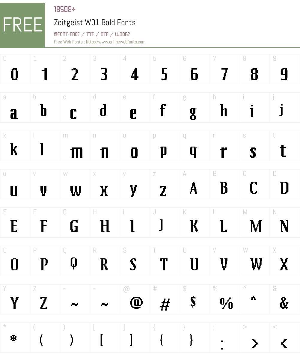 ZeitgeistW01-Bold Font Screenshots