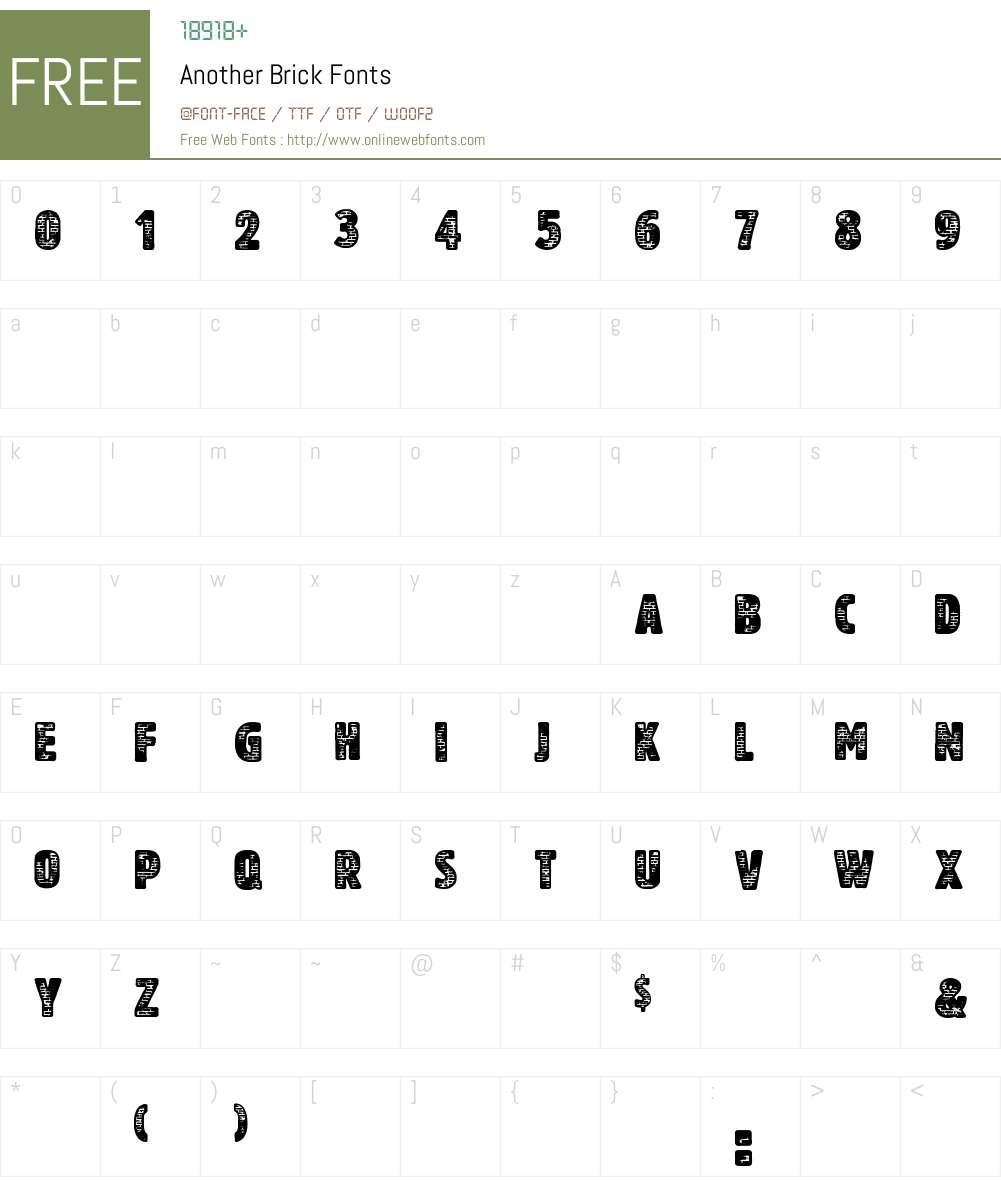 Another Brick Font Screenshots