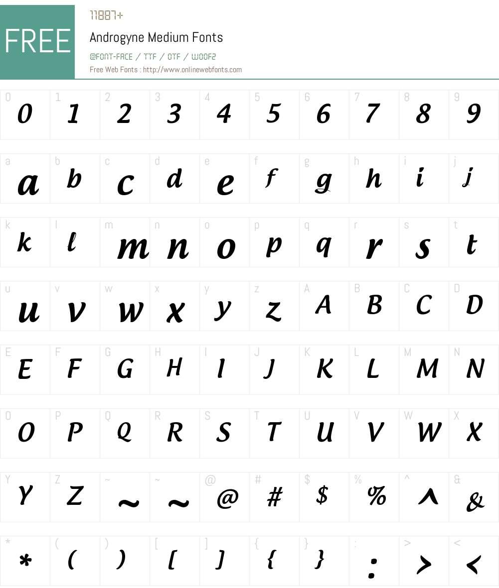 Androgyne Font Screenshots
