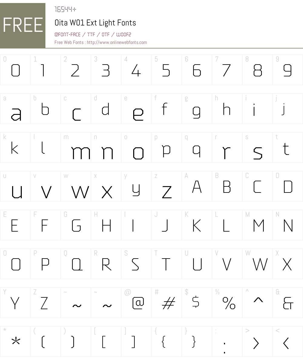 OitaW01-ExtLight Font Screenshots