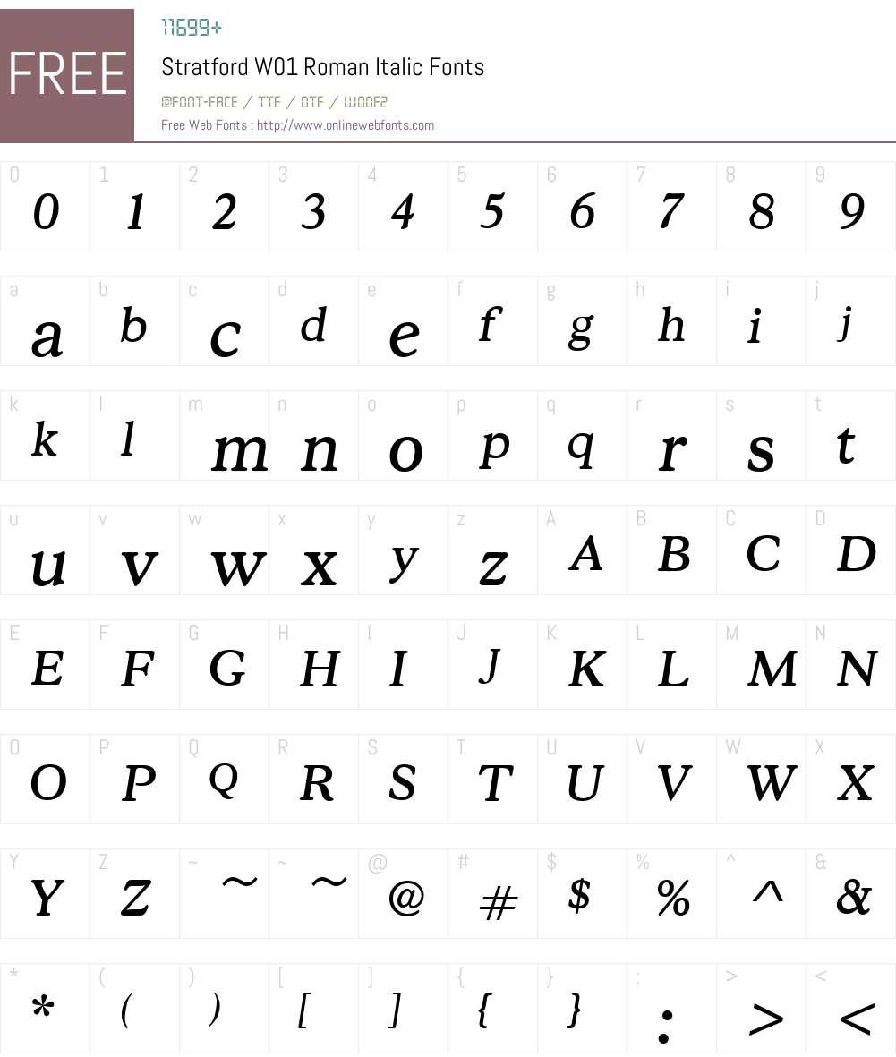 StratfordW01-RomanItalic Font Screenshots