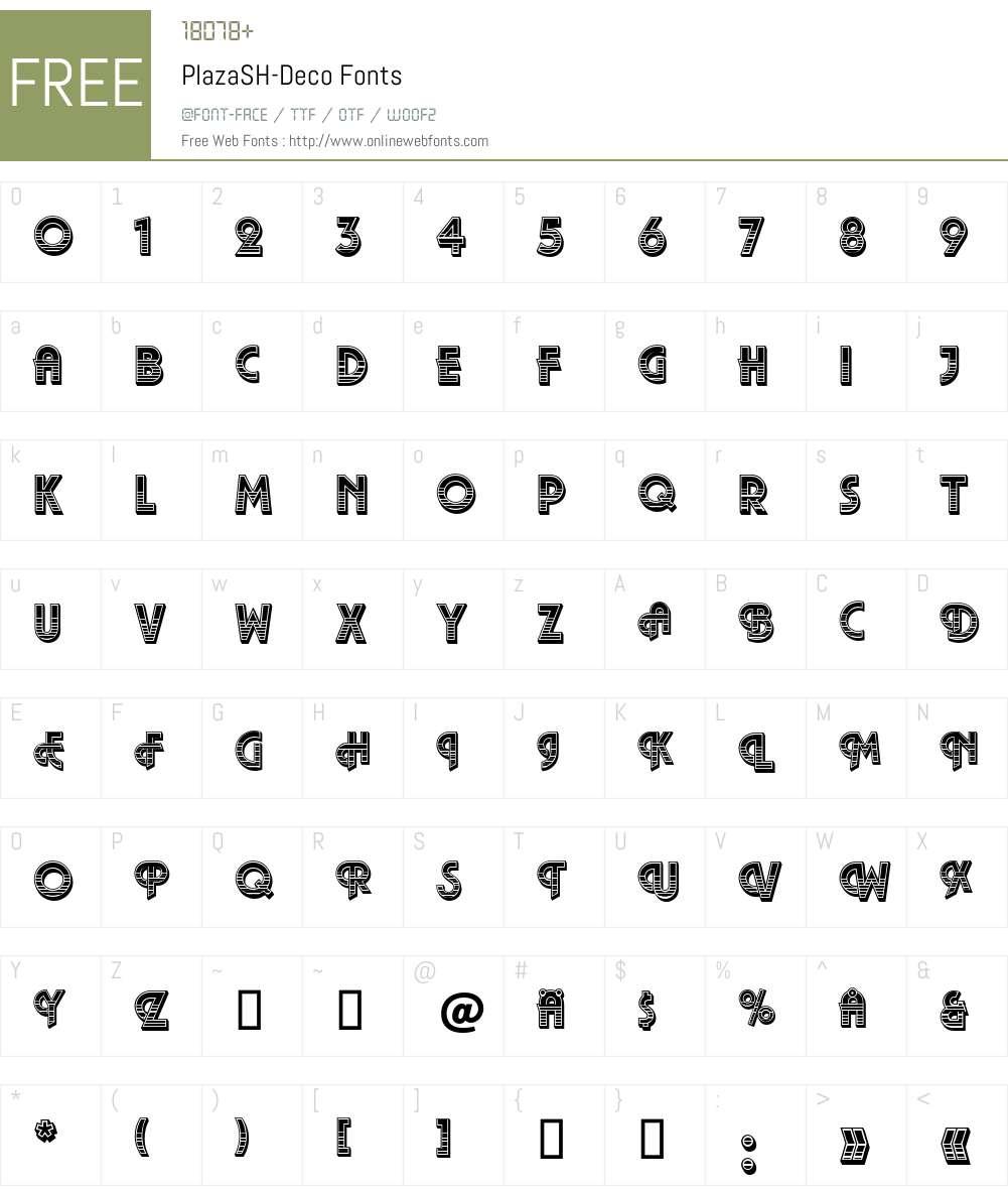 PlazaSH-Deco Font Screenshots