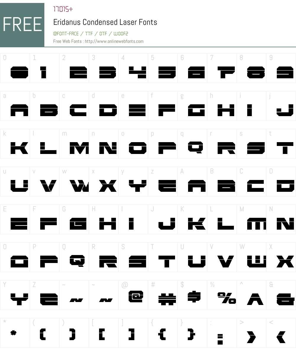 Eridanus Condensed Laser Font Screenshots