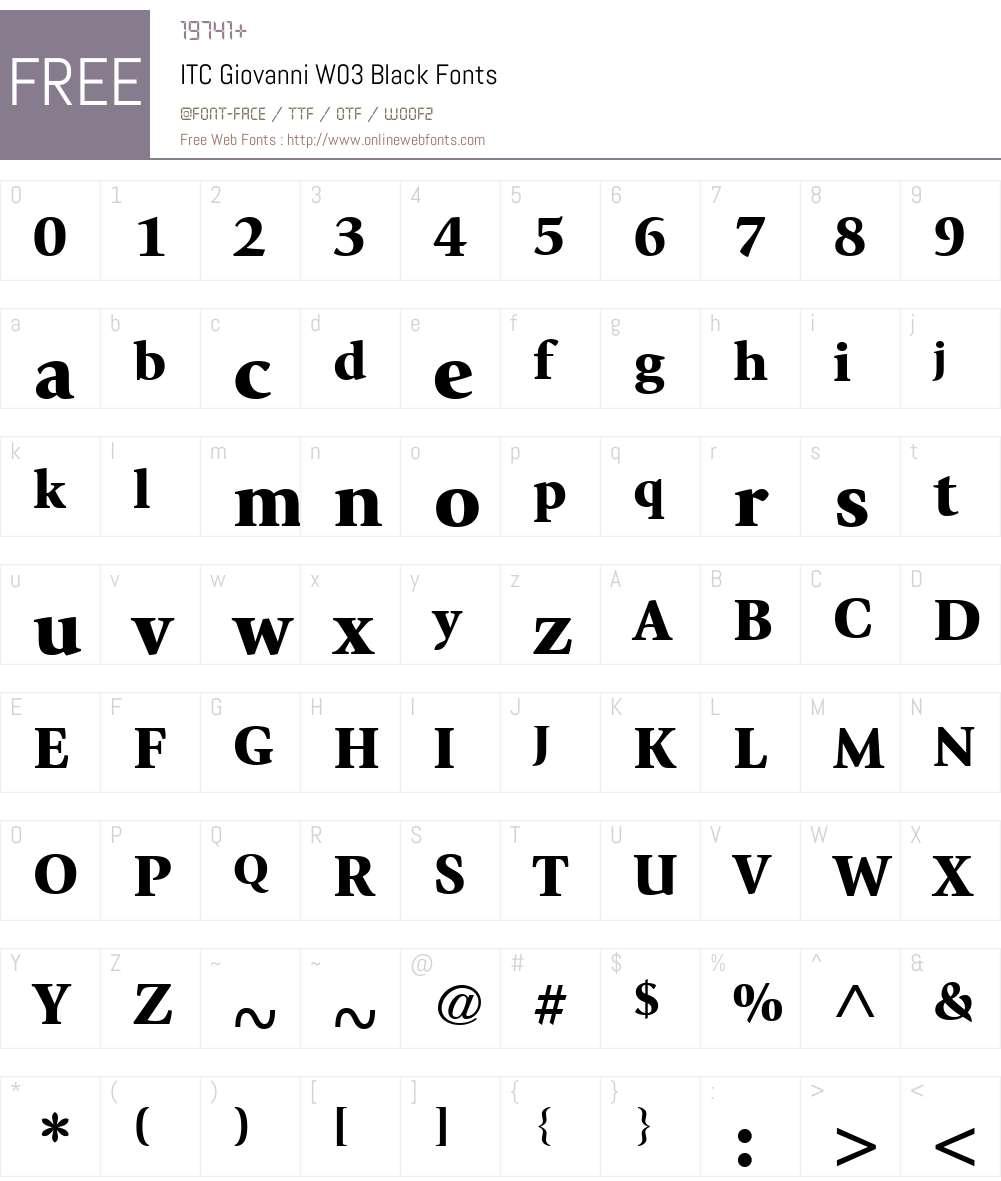 ITC Giovanni Font Screenshots