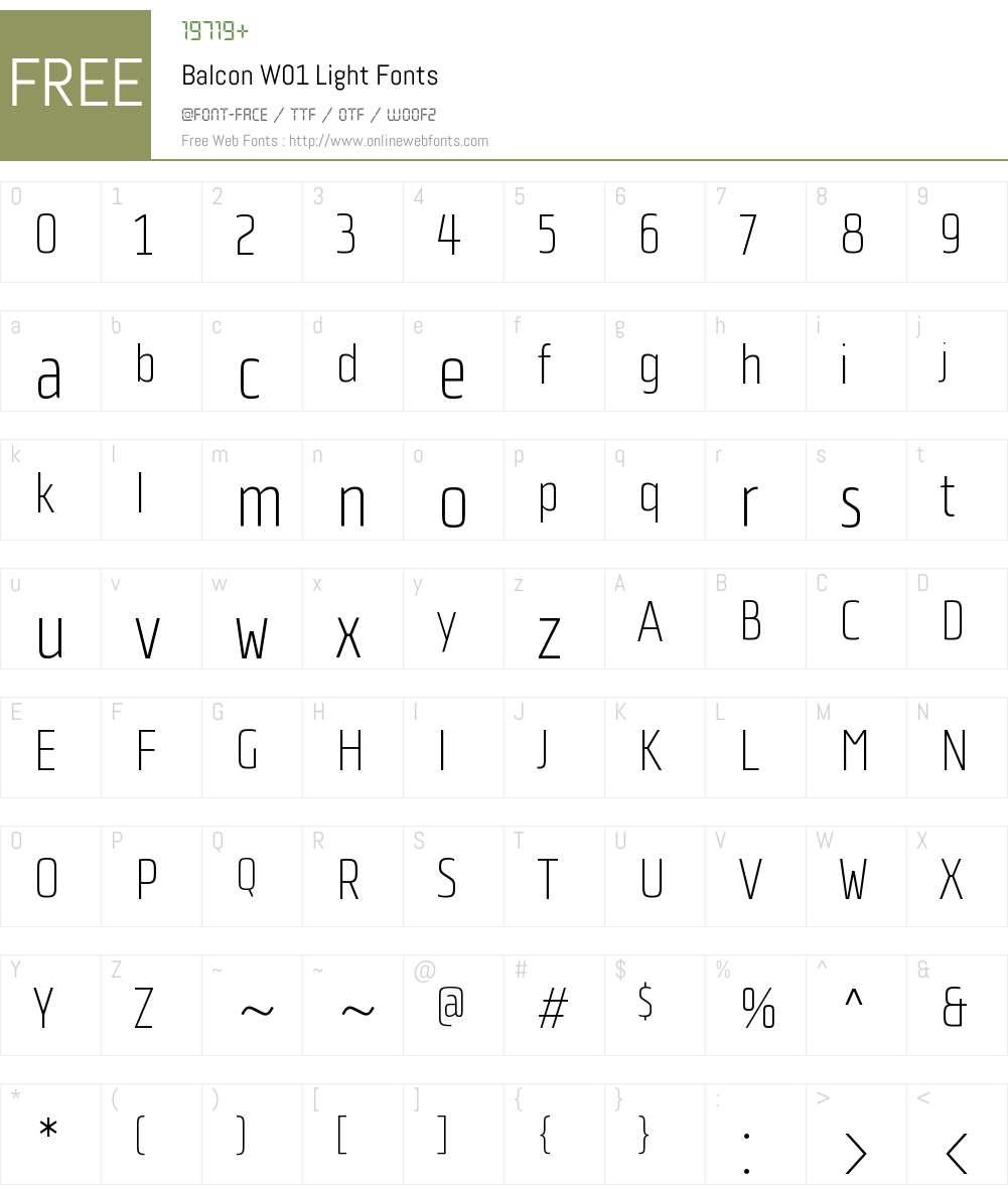 BalconW01-Light Font Screenshots