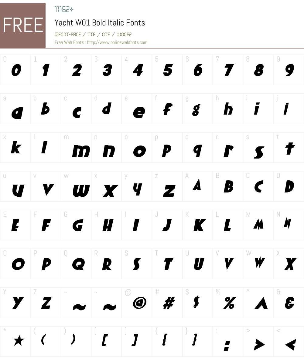 YachtW01-BoldItalic Font Screenshots