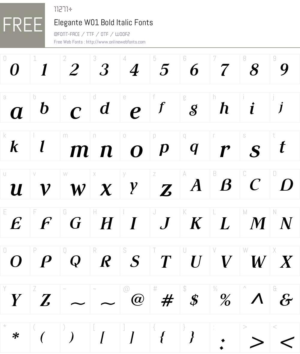 EleganteW01-BoldItalic Font Screenshots