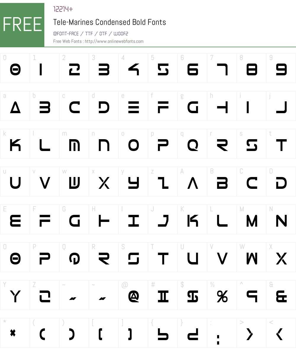 Tele-Marines Condensed Bold Font Screenshots