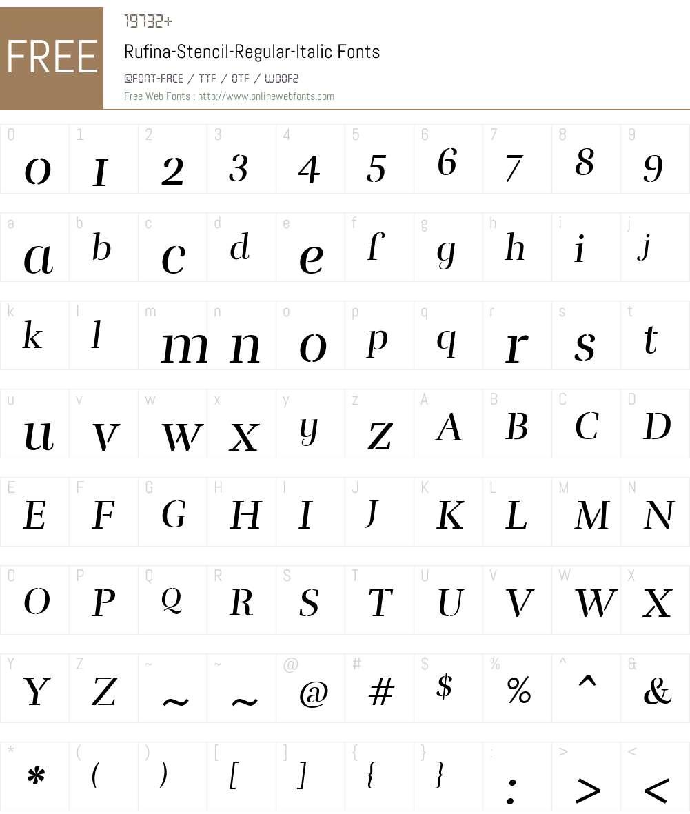 Rufina-Stencil-Regular-Italic Font Screenshots