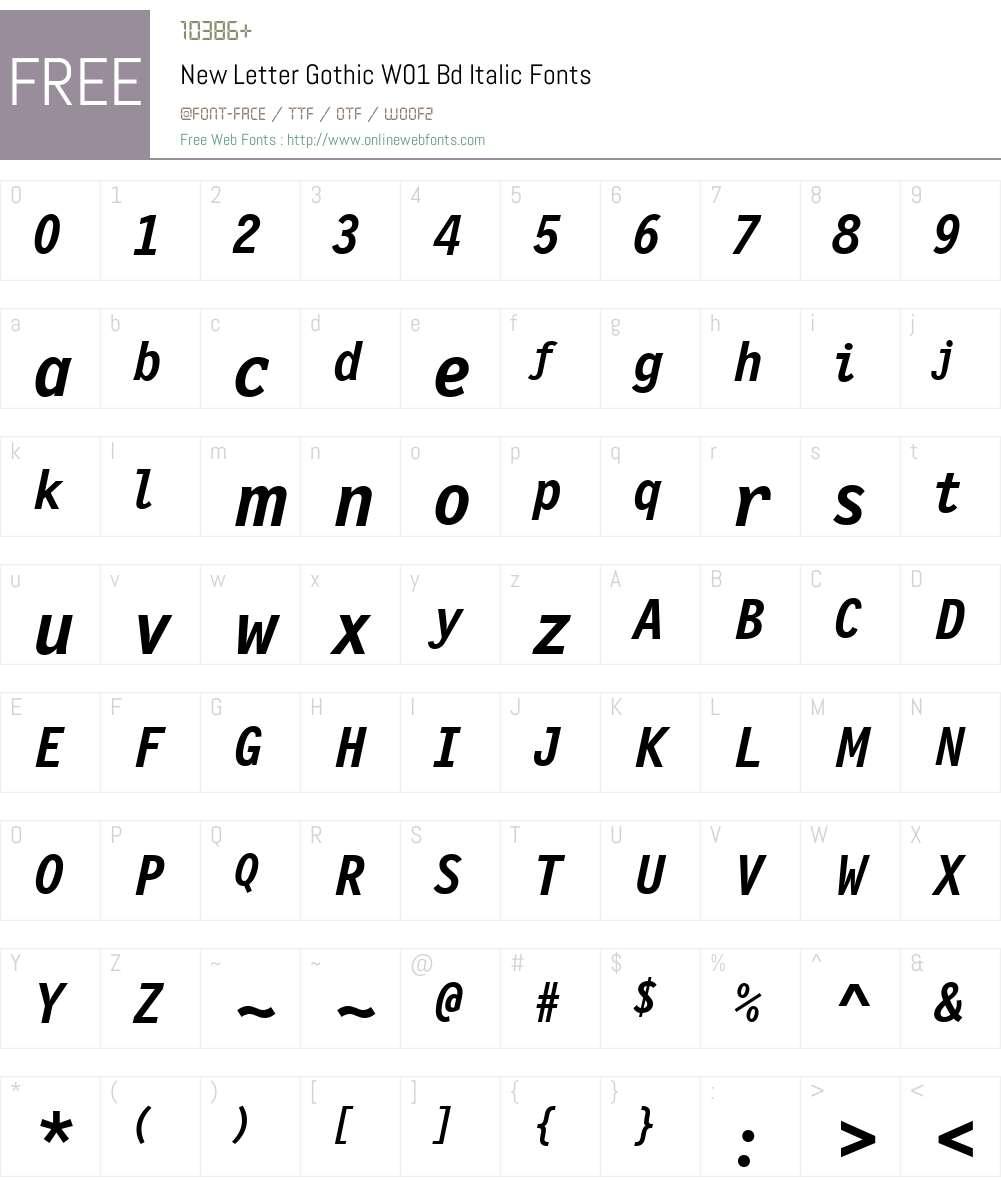 NewLetterGothicW01-BdItalic Font Screenshots