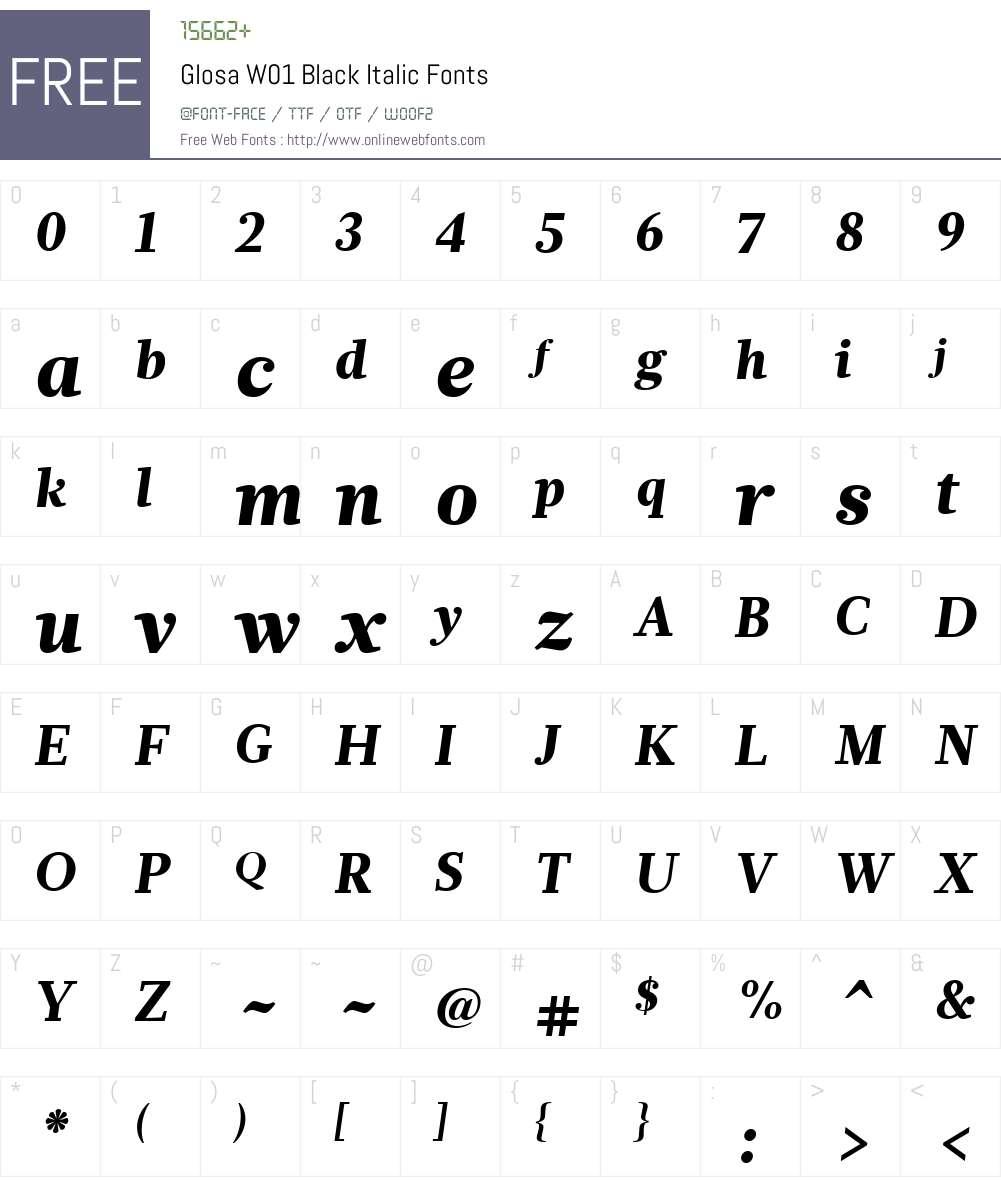 GlosaW01-BlackItalic Font Screenshots