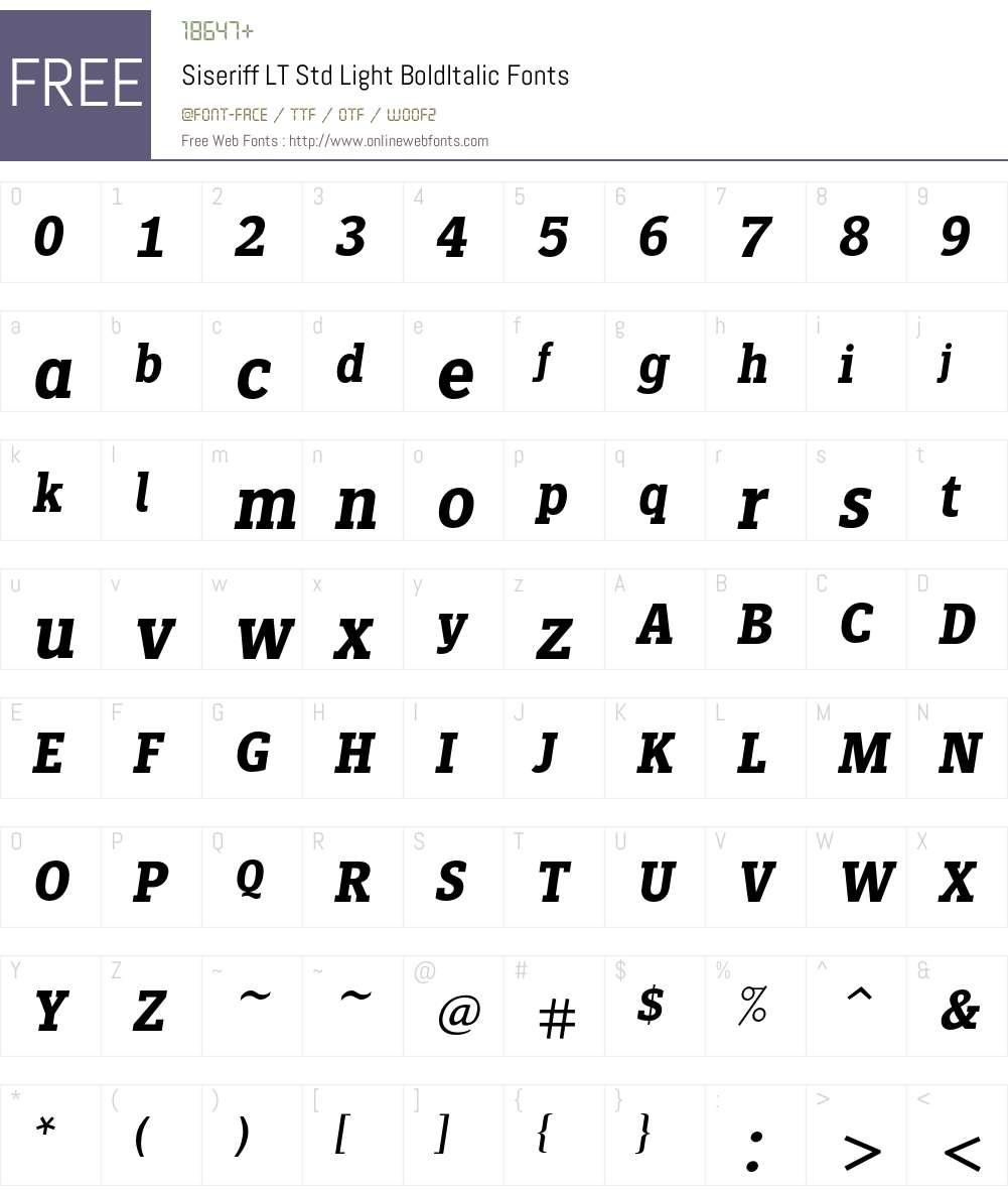 Siseriff LT Std Light Font Screenshots