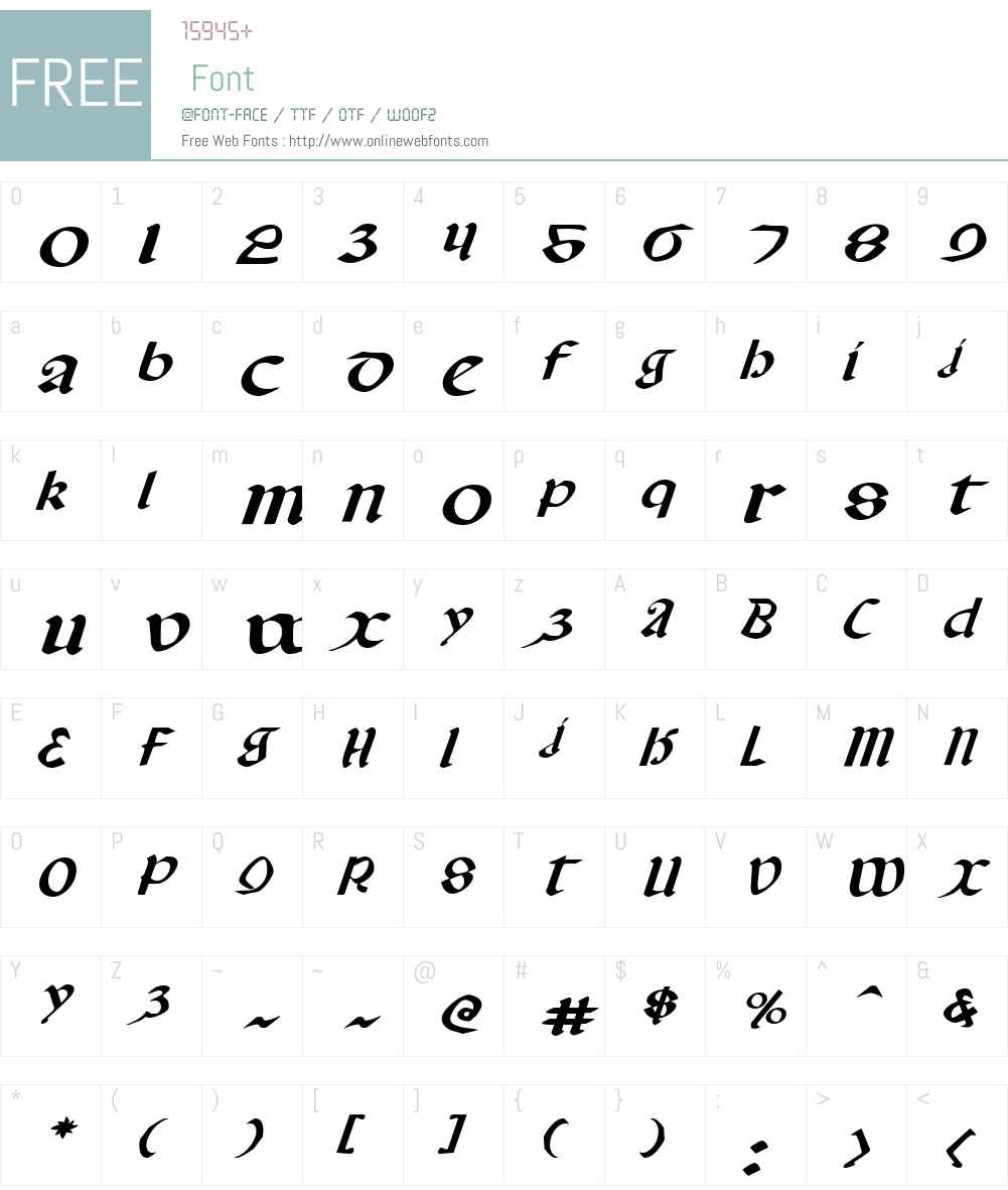 Valerius Expanded Italic Font Screenshots