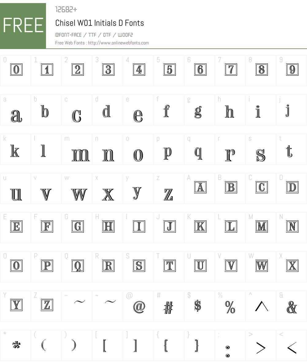 ChiselW01-InitialsD Font Screenshots