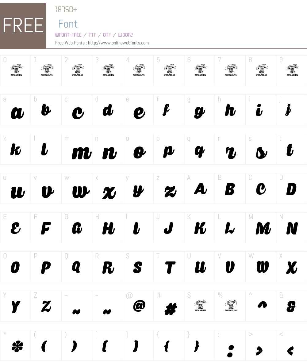 Caprica Script Personal Use Font Screenshots