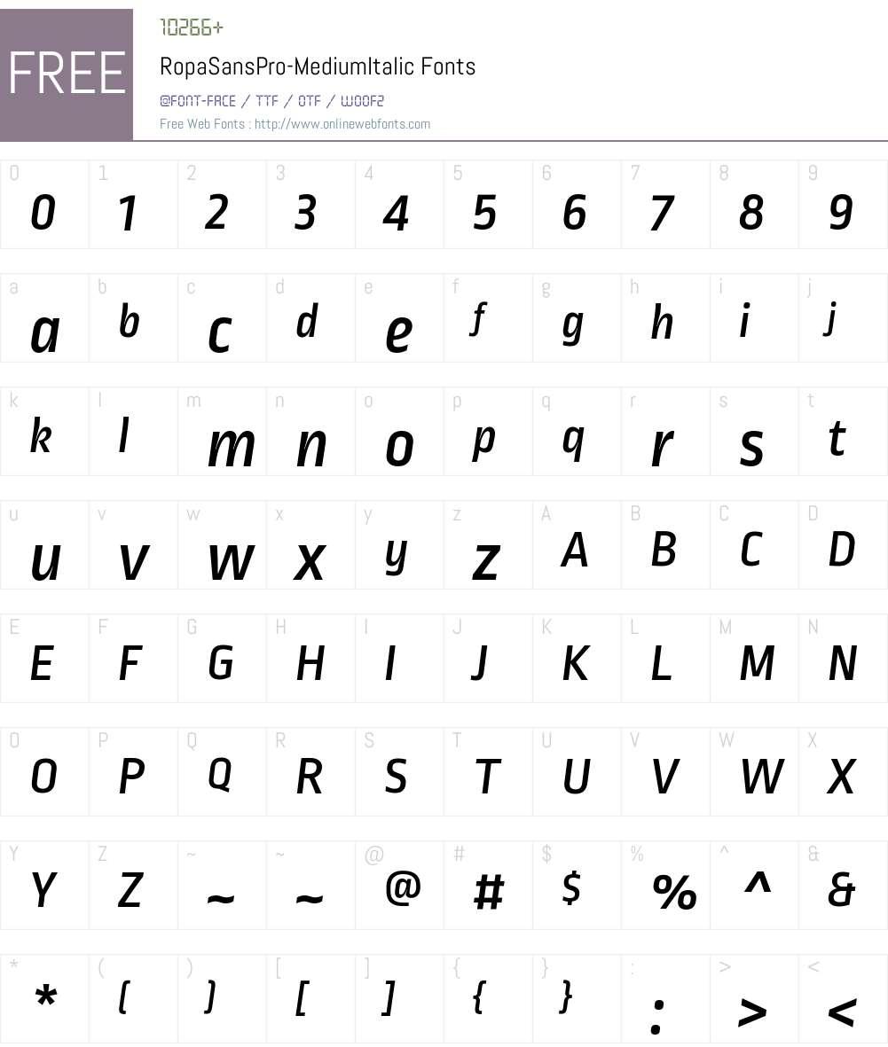 Ropa Sans Pro Medium Font Screenshots