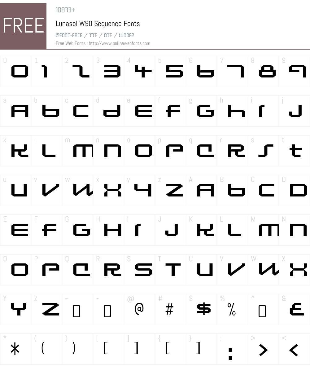 LunasolW90-Sequence Font Screenshots