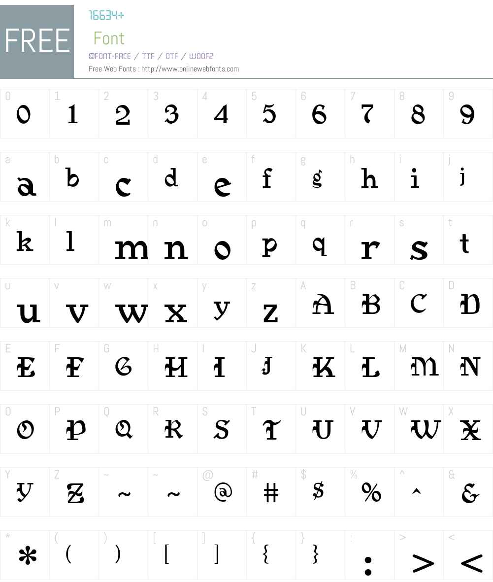 MedievalGunslingerW00-Rg Font Screenshots