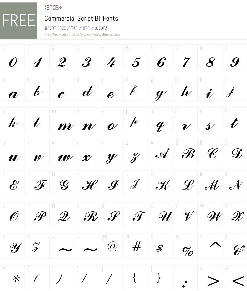 CommercialScript Font Screenshots