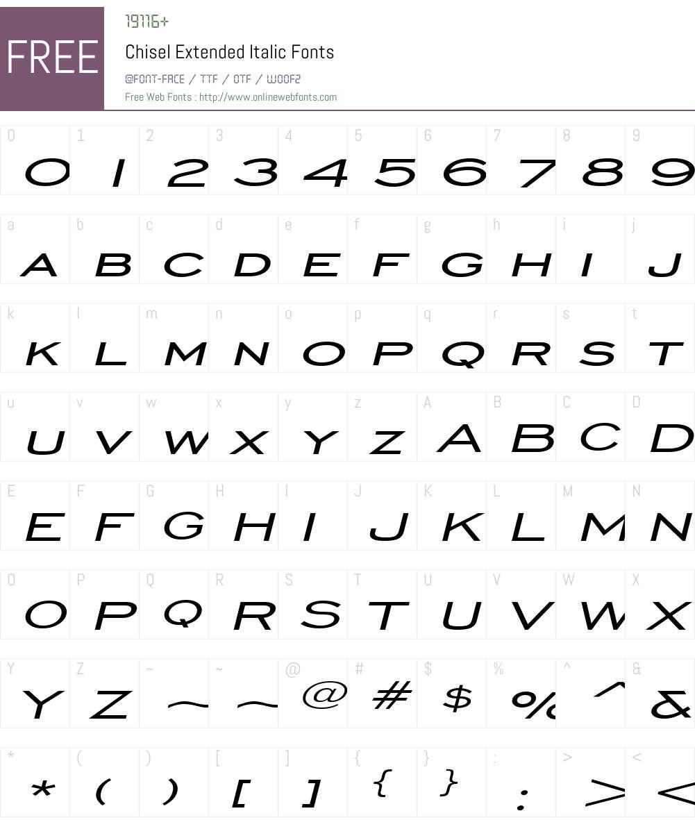 Chisel Extended Font Screenshots