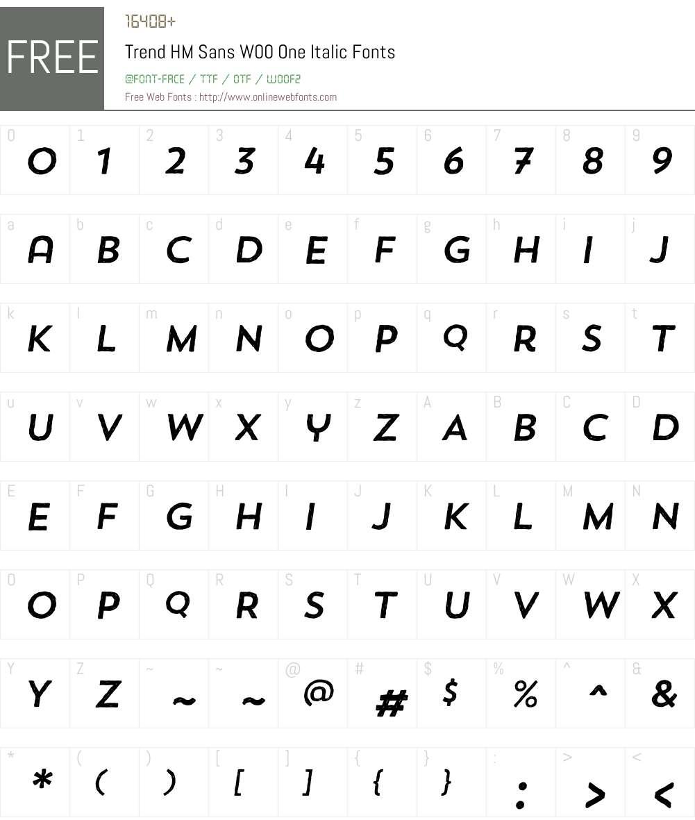 TrendHMSansW00-OneItalic Font Screenshots