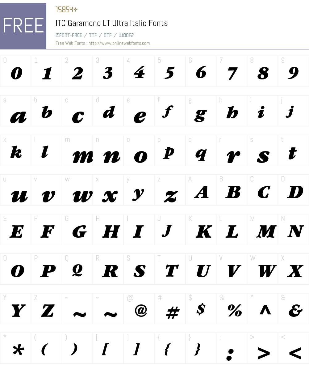 ITC Garamond LT Font Screenshots