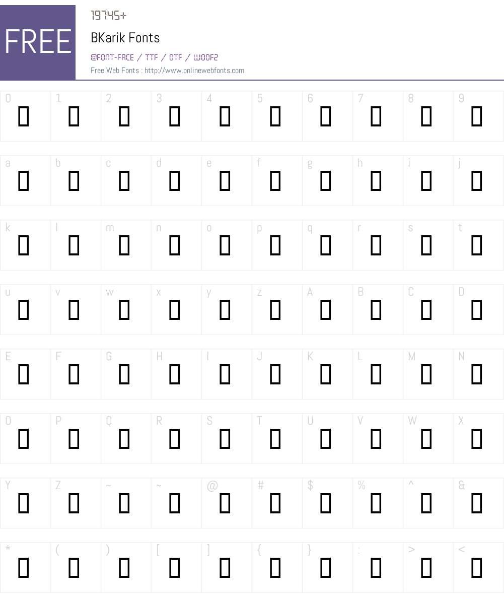 BKarik Font Screenshots