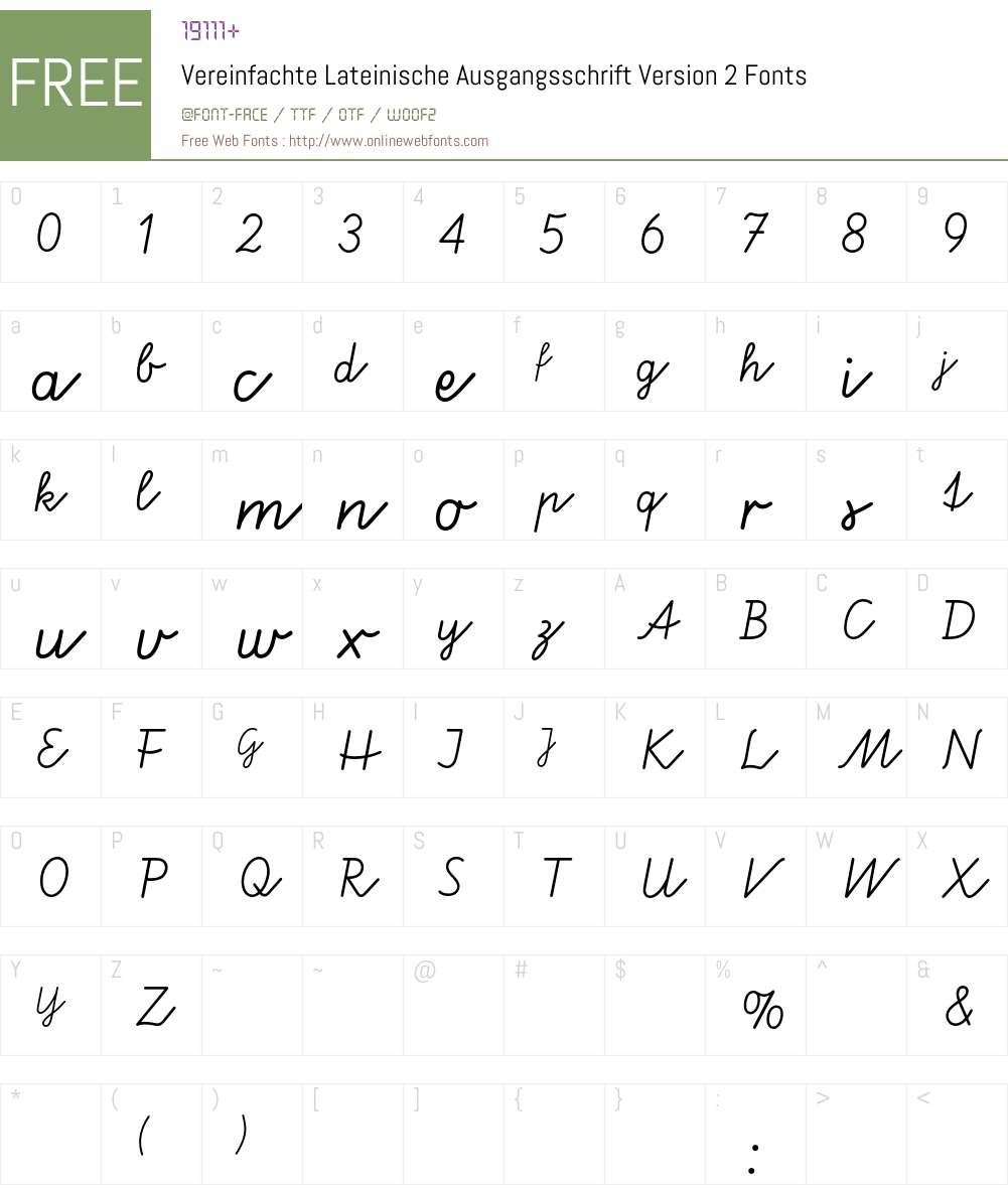 Vereinfachte Lateinische Ausgangsschrift Two BQ Font Screenshots
