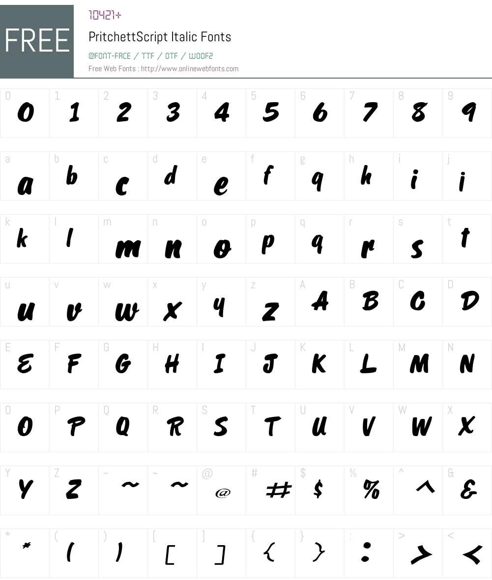 PritchettScript Font Screenshots