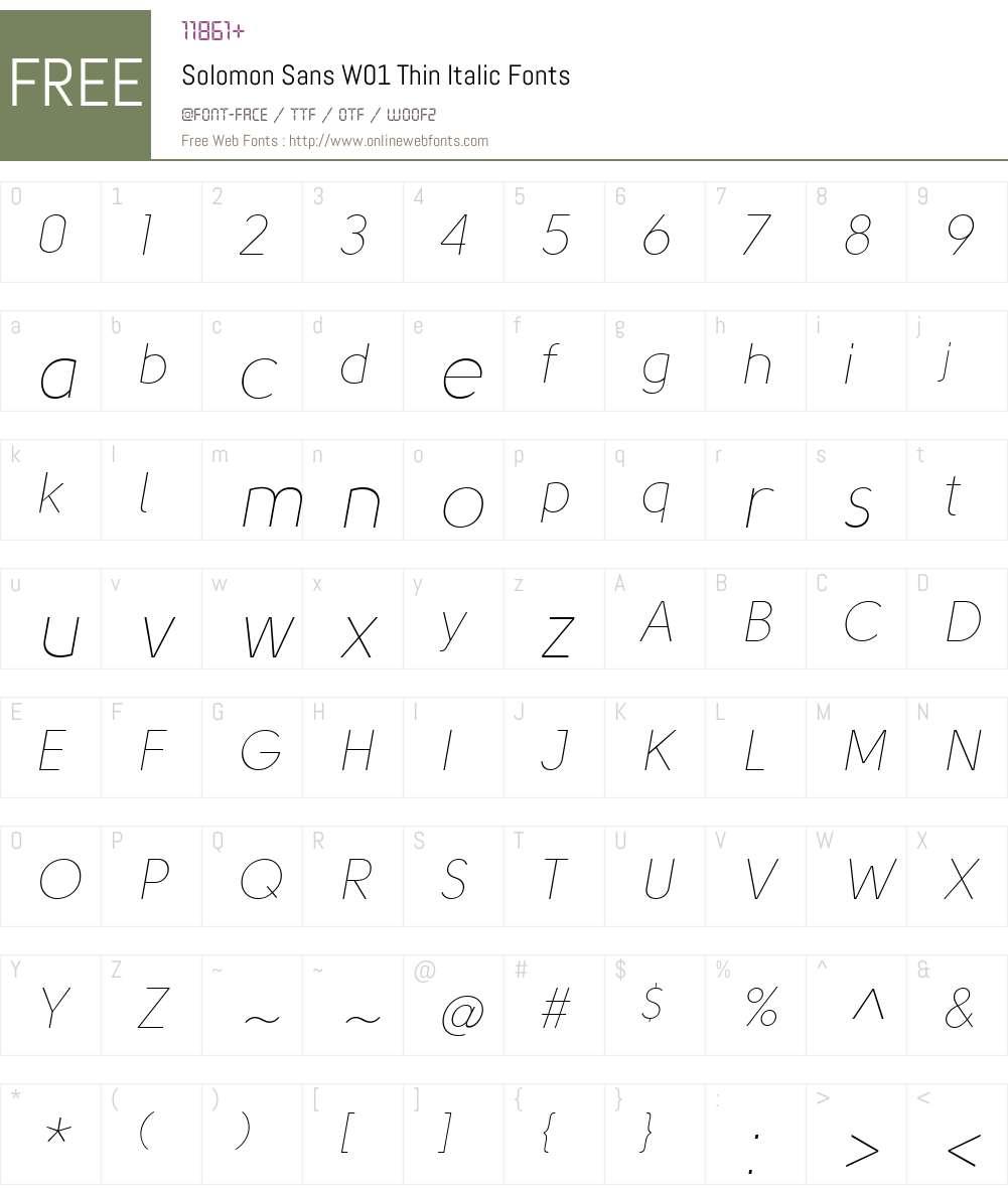 SolomonSansW01-ThinItalic Font Screenshots